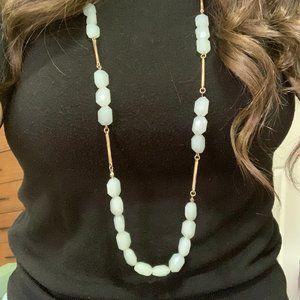 Long Light Aqua Beaded Necklace